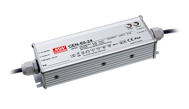 30VDC 2A 60W Class 2 Switching LED Driver Power Supply IP67 Encapsulated 3 in 1 Dimming